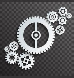 Mechanical machine cogwheels gears transparent vector