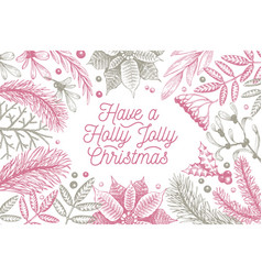 Merry christmas design template hand drawn vector