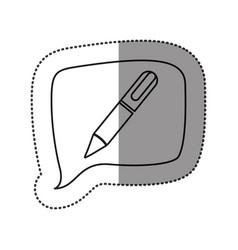 monochrome contour sticker with pen icon in square vector image