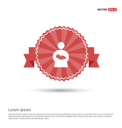 Mother with baby icons - red ribbon banner vector