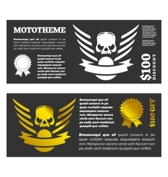 Motor skull shield design vector image