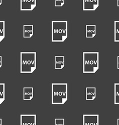 Mov file format icon sign Seamless pattern on a vector