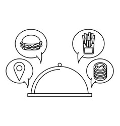 Online food order and delivery black and white vector