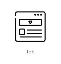 Outline tab icon isolated black simple line vector