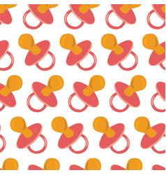 pacifier pink seamless pattern repeating vector image