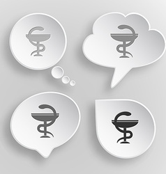 Pharma symbol white flat buttons on gray vector