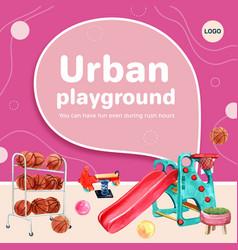 Playground social media design with basketball vector