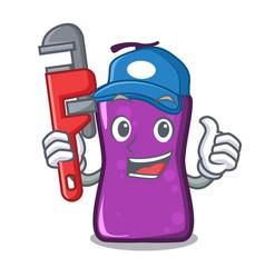 Plumber shampo mascot cartoon style vector