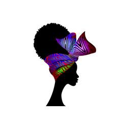 portrait african woman bandana shenbolen ankara vector image