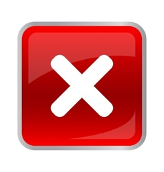 Rejected square button red color vector image