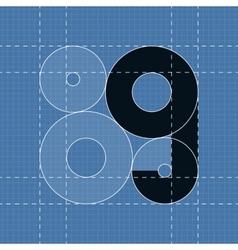 Round engineering font Symbol G vector image