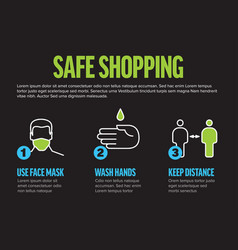 Safe shopping instructions - horizontal vector