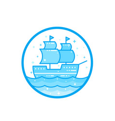 sailing vessel old ship vector image