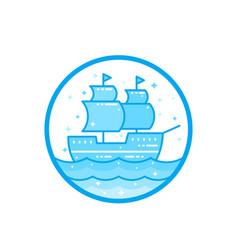 sailing vessel old ship vector image