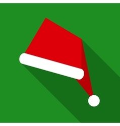 Santa Claus Hat in Flat Style with Long Shadows vector image