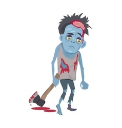 Scary Zombie Man Walking with Ax Flat vector