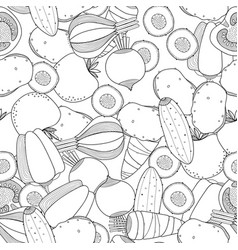 seamless black and white pattern with vegetables vector image