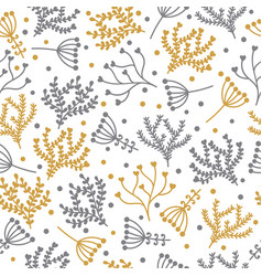 seamless floral pattern in doodle style cute vector image