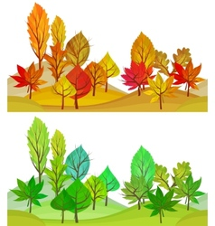 Seamless pattern with trees Summer and autumn vector image