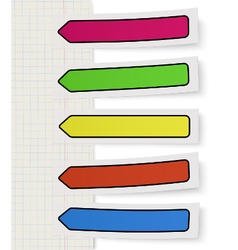 Set of color self-adhesive bookmarks sticker notes vector
