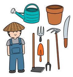 set of gardener and gardening equipment vector image
