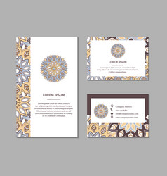 set of ornamental cards with flower mandala vector image