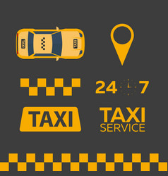 set of taxi service taxi car flat vector image
