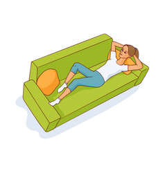 sketch young woman lying at sofa resting vector image