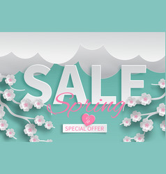 Spring sale template with paper cut cherry flowers vector