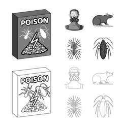 Staff packing with poison and pests outline vector