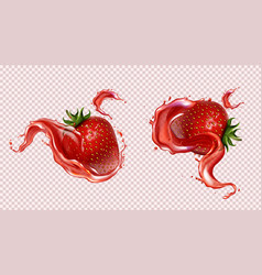 strawberry with juice splash realistic isolated vector image