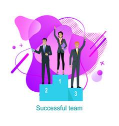 Successful team business people on pedestal design vector