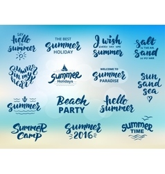 Summer hand drawn brush letterings vector image