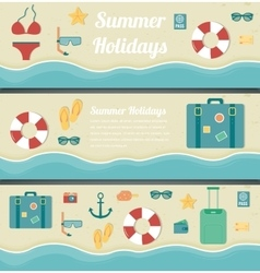 Summer travel banners Summer holidays background vector