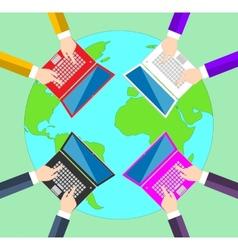 Teamwork Concept of global business communication vector