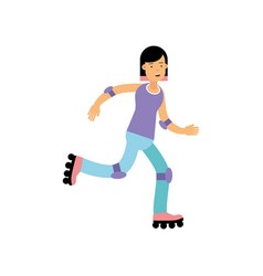 teen girl rolling on roller blades active vector image
