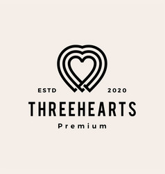 three heart love hipster vintage logo icon vector image