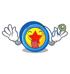 Tongue out yoyo mascot cartoon style vector