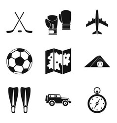 Tourist transport icons set simple style vector