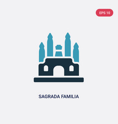 Two color sagrada familia icon from monuments vector