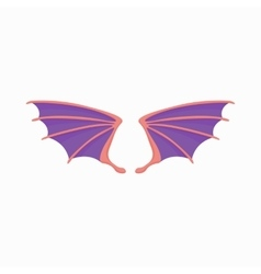 Violet dragon wings icon cartoon style vector