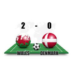 Wales vs denmark soccer ball with national flag vector