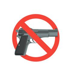 Weapons ban symbol ban gun flat vector