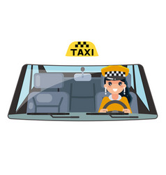 woman taxi vehicle interior driver car wheel ride vector image