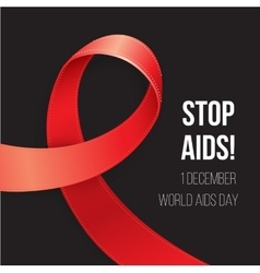 World Aids Day Red Awareness Realistic ribbon on vector image
