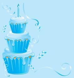 baby boy cupcake birthday vector image