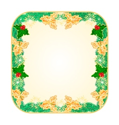 Button square Christmas spruce and holly vector image vector image