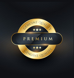 genuine premium quality golden label design vector image vector image
