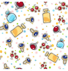 jewelry for women elite perfume seamless pattern vector image vector image