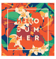 summer hawaiian tropical poster with palm leaves vector image